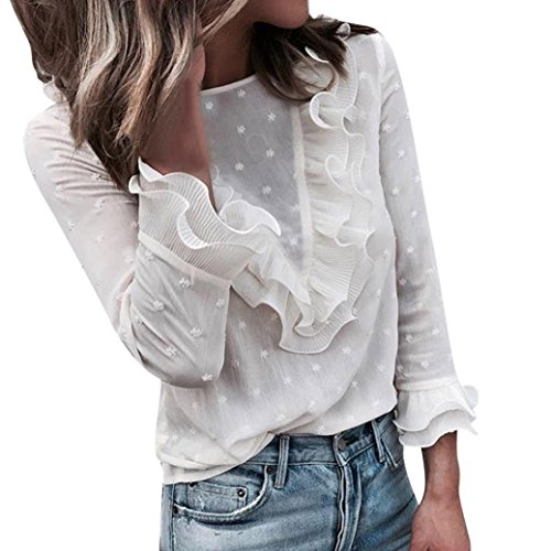 Sweatshirt Damen Kolylong® Frauen Elegant Polka Punkt Lange Ärmel Blusen  Vintage Spitzenbluse Rüschen Langarm Oberteil Weißes Tunika Basic Shirt Hemd  ... e6567ce9c9