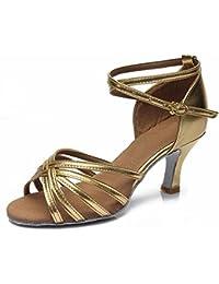 YFF Nach Damen Frauen Ballsaal Latino Dance Schuhe mit Hohen Absätzen Weiche Sohle, Pale Gold, 8,5