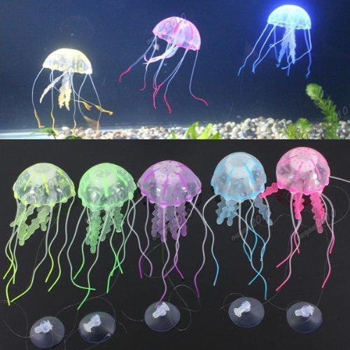 Kuenstlich Quallen Jellyfish Aquarium Dekoration Deko Fisch Tank Glowing Effect