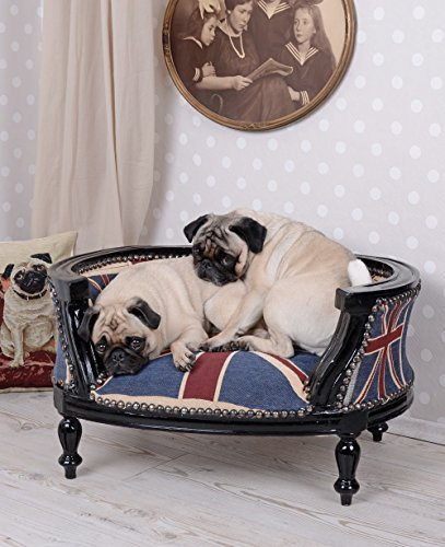 PALAZZO INT Hundesofa Barock Hundebett Union Jack Bezug Hundebettchen Mops Bully Katzenbett Palazzo Exclusiv