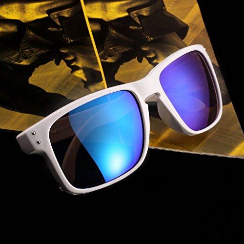 Weiß Rahmen + Violett Objektiv Retro Sonnenbrille Eyewear Sport Motorrad Reiten Sport Sun Glasses FL