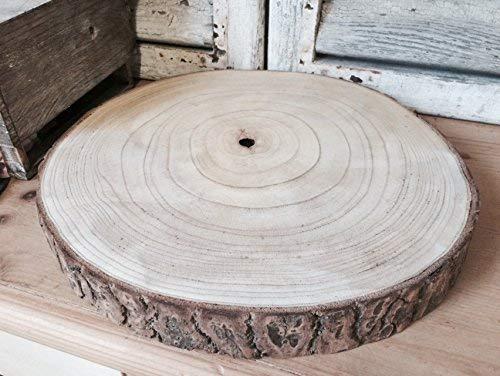Rustikale Holz-tabellen (Große Natural Wood Log Scheibe Baumrinde Hochzeits-Tabellen-Mittelstück Tortenständer (XXL 43-47cms))