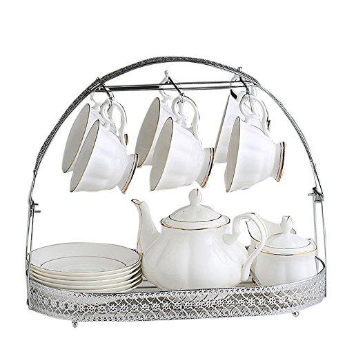 Ensemble de thé / thé de l'après-midi / pot 1 tasse 6 plats 6 boîtes de sucre 1 pot de lait 1pcs (2 couleurs en option) ( couleur : A )