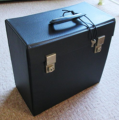 VINTAGE LP RECORD CASE STORAGE BOX VINYL RETRO CARRY CASE, BLACK LEATHER LOOK -