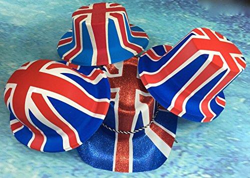 Party Heaven 6 Pack Union Jack Glitter Cowboy Hat Adult Size UK Celebrations Fetes Armed Forces
