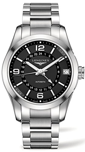 LONGINES MEN'S STEEL BRACELET & CASE AUTOMATIC BLACK DIAL WATCH L27994566
