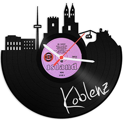 GRAVURZEILE Wanduhr aus Vinyl Schallplattenuhr Skyline Koblenz Upcycling Design Uhr Wand-Deko Vintage-Uhr Wand-Dekoration Retro-Uhr Made in Germany