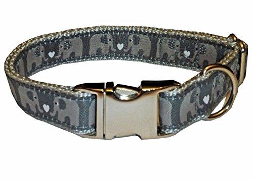 Halsband Hund Elefanten Hundehalsband Nylon grau silber Herzen kleine Hunde Klick Schnalle Alu 2 cm breit 30 cm - 48 cm Halsumfang edel
