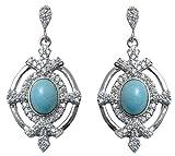 Banithani Argent 925 Larimar Designer Pierre Stud boucles d'oreilles Bijoux fantaisie