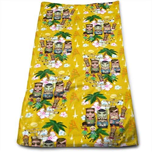 Mikrofaser-trek Handtuch (huibe Handtücher Tiki Trek Yellow Gesichtstücher Hochsaugfähige Handtücher für das Fitness- und Wellnesscenter 30x70 cm)