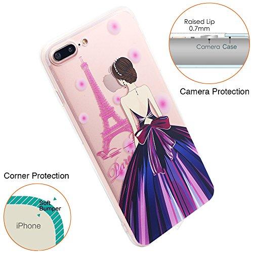 Coque iPhone 6S Plus, TrendyBox Transparent PC Hard Cover avec soft TPU Pare-chocs pour iPhone 6/6S Plus avec verre trempe film de protection (Danseuse de ballet) 101