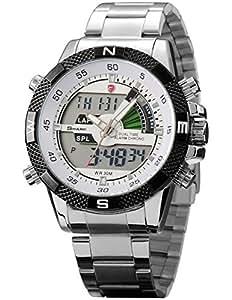Shark - Montre Homme - LED Quartz Sportive - Bracelet Acier Inoxydable - SH046 - Argenté