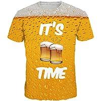 MVPKK Camisetas de Manga Corta para Hombre, Camisetas 3D Impresión de Cerveza Hombre Camisas de Cuello Redondo Polo de Algodón tee Shirt Talla Grande Ropa Deportiva Sudaderas Trajes Verano