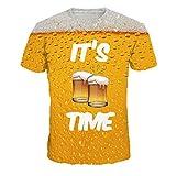 YEBIRAL Camisa Hawaiana Hombre,Cerveza Estampado Manga Corta para Hombre Camisetas Caliente de Verano O-Cuello T-Shirt Casual Moda(XXXL,Amarillo)