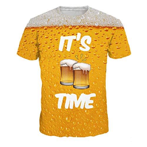 MAYOGO Herren 3D Druck Bier Print Kurzarm Tshirt mit Sprüchen Männer T-Shirts Oberteile Hemden Tops -
