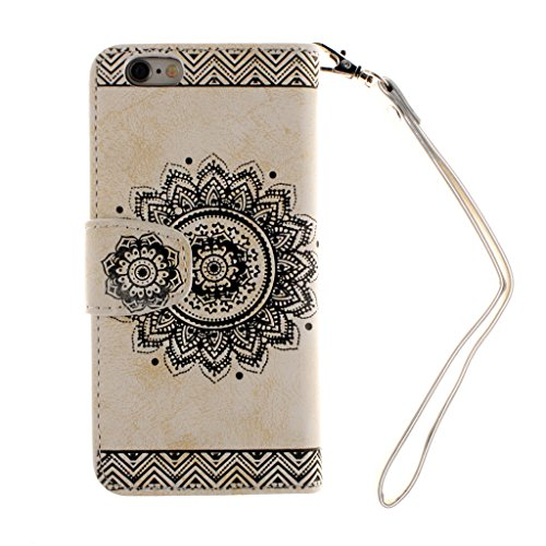 iPhone6s Case,iPhone6 Case,Fodlon® Flowers Embossed Retro Premium PU Leather Magnetic Flip Wallet Cover with Detachable Hand Lanyard & Card Slots & Stand Function for iPhone 6 6S-white blanc