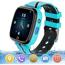 Reloj GPS Niños Smartwatch Phone - Reloj de Pulsera Inteligente con Ubicación GPS LBS Reloj con Call Voice Chat SOS Cámara Niños Cumpleaños (Azul)