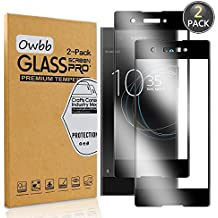 [2 Pack] Owbb Tempered Glass Screen Protector For Sony Xperia XA1 Black Full Coverage Film 99% Hardness High Transparent Explosion-proof
