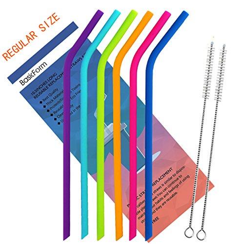 BasicForm Regelmäßige Größe Silikon wiederverwendbare Trinkhalme Set 6 für Erwachsene und Kinder - 2 Reinigungsbürsten enthalten (Wein-set 5 Stück)