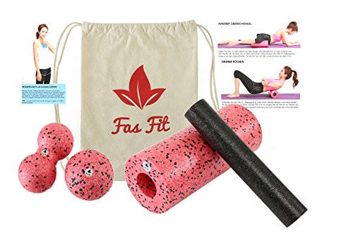 Faszien Fitness 4 in 1 Set (Rot): Faszienrolle + Mini-Rolle + Duoball + Faszienball + Baumwoll-Turnbeutel + 16seitiges Trainingsheft in Farbe + eBook