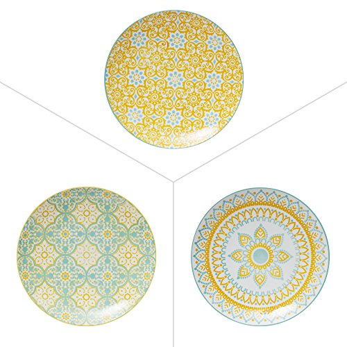 TABLE PASSION - ASSIETTE DESSERT 20CM MIKADO PORCELAINE ASSORTIE (LOT DE 6)