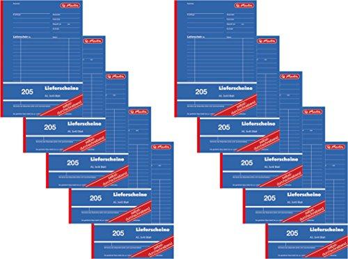 Herlitz 883546 Lieferschein-Buch A5 205 3x40 Blatt, selbstdurchschreibend (10 Stück, DIN A5) -
