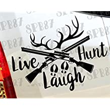 caccia Live Laugh Gun Duck Hunter Deer Bow Funny Car bumper Window Funny vinyl Van di amore cuore Decor Home Live Kids Funny decalcomania da parete motocicli
