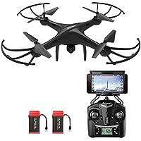 Drone avec Caméra HD, AMZtronics A15W Sans Fil FPV 2.4Ghz RC Quadcopter RTF Maintien d'altitude OVNI avec Flotter et 3D Flips, TF Card et Card Reader