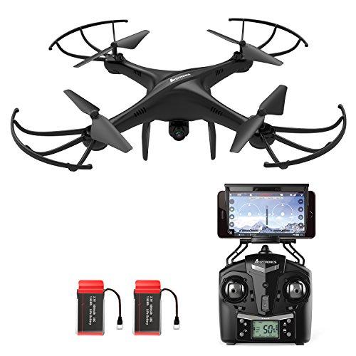 Drone-avec-Camra-HD-AMZtronics-A15W-Sans-Fil-FPV-24Ghz-RC-Quadcopter-RTF-Maintien-daltitude-OVNI-avec-Flotter-et-3D-Flips-TF-Card-et-Card-Reader