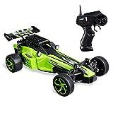 Virhuck 1:24 RC Auto mit 2 Batterien, 2,4 GHz Funkfernbedienung 2WD High Speed 15 KM / H Fast Beast RTR Elektro Fast Racing Auto für Kinder (Grün)