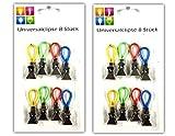 16x Universalclips mit Lasche | Büroklammer | Papier Clip | Verschlussclips