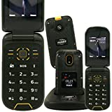 Mobiho-Essentiel Le Clap BAROUDEUR - Le clapet Robuste & IP68 - Téléphone Portable Senior 2G & 3G, Complet avec app Photo 2MP, vidéo, Bluetooth. Malentendant, Son Tres Fort. DEBLOQUE Tout OPERATEUR....