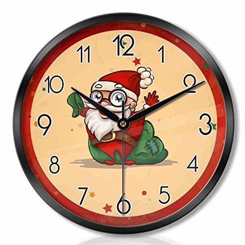 ZML Horloge Murale, Radio contrôlée, Non-coutil, Ronde, Cadeau de Noël