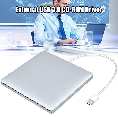 Mkiki Ultra-Slim Externe DVD Laufwerk USB 3.0 Bremsscheiben Kopierer für Computer Notebook (Silber Weiß)