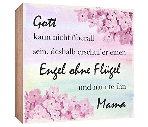 Holzschild Gott kann nicht überall sein deshalb erschuf er einen Engel ohne Flügel und nannte ihn Mama Holzbild zum hinstellen oder aufhängen Bild mit Spruch aus Holz Wandschild Dekoschild
