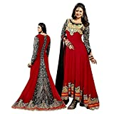 FebForrest Womens Red Georgette Fusion Salwar SuitDress Materials Semi-Stitched (Free Size) [SDM 13 (FF_D)]