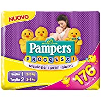 Pampers Progressi X 176Pañales–56Pañales talla 1+ 120Pañales talla 2