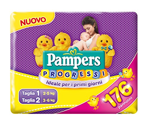 Pampers Progressi x 176 couches – 56 couches Taille 1 + 120 couches Taille 2