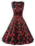 Dresstells 50s Retro Audrey Hepburn Swing Pinup Polka Dots Rockabilly Dress Cherry Black XS