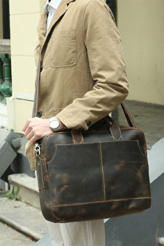Modelshow Herren Echtleder Retro Aktentasche Laptoptasche Schultertasche für Geschäftsleute (braun) braun