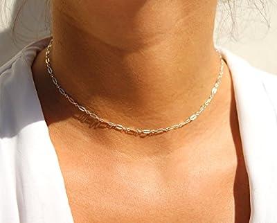 Collier choker ras du cou - collier ultra fin minimaliste - chaîne à maillons large en argent massif 925 - collier argent - collier court