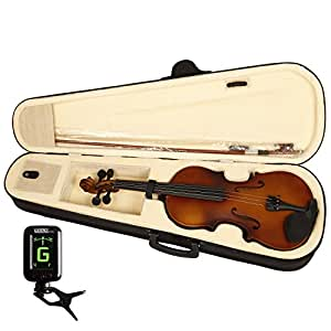 Kadence, Vivaldi 4/4 Violin With Bow, Rosin, Hard Case And Digital Tuner