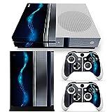 46 North Design Xbox One S Folie Skin Sticker Konsole Blue Silver Metal aus Vinyl-Folie Aufkleber Und 2 x Controller folie & Kinect Skin