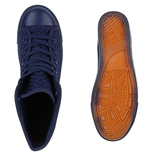 Herren High Top Sneakers Sportschuhe Stoffschuhe Casual Style Dunkelblau