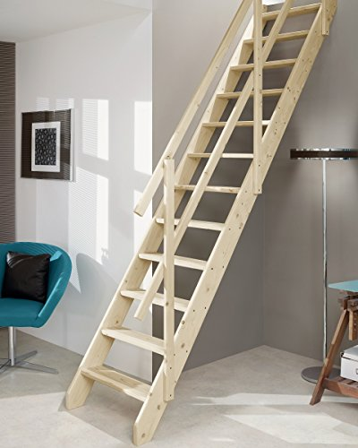 Intercon Raumspartreppe Double Handrail with up to 286 Geschosshöhe Osaka CM Spruce
