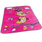 Decke Kinderdecken Niedliche Eulen Pink Fuchsia Kuscheldecke Spieldecke, Grösse:155x215 cm