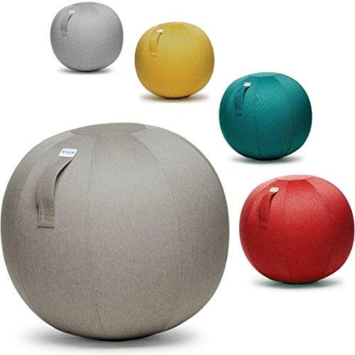 Ergonomischer Wellness-stuhl (VLUV LEIV Stoff Sitzball - Mustard Gelb - Ø 65cm / Ø 75 cm + + inklusive Ball-PUMPE und Zubehör + + (siehe Bild). Hochwertige Sitzbälle / Gymnastikbälle für Zuhause und Büro. (Ø 75 cm, Mustard Gelb))