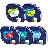 5 x Ruban adhésif, étiquette en Papier LetraTag 91200 91202 91203 91204 91205 Etiquette en plastique, compatible avec Dymo LetraTag LT-100H LT-100T Plus 2000 QX50 XR XM 12mm x 4m