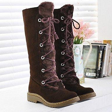 RTRY Scarpe Da Donna In Pelle Scamosciata Autunno Inverno Comfort Novità Snow Boots Fashion Stivali Stivali Tacco Piatto Rotondo Mid-Calf Toe Boots Lace-Up Per Casual US9.5-10 / EU41 / UK7.5-8 / CN42