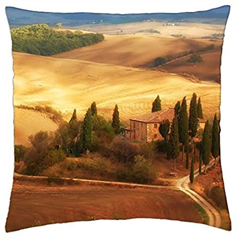 farms in a tuscan landscape - Throw Pillow Cover Case (16